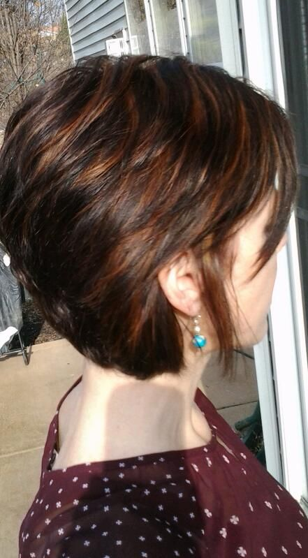 chocolate brown base red highlights. short hair