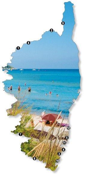 Übersichtskarte: Die schönsten Strände Korsika