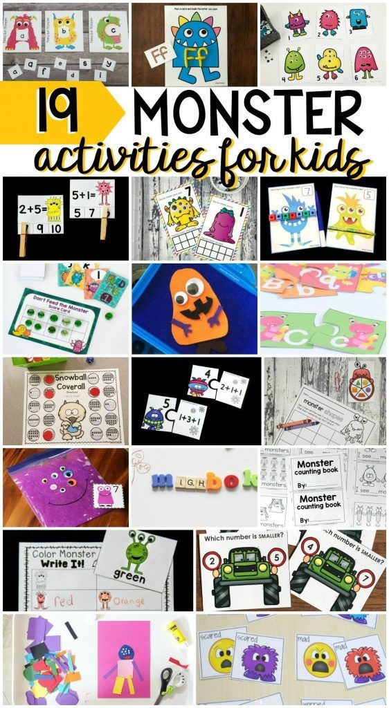 FREE Fun monster activities for preschool, pre-k,…