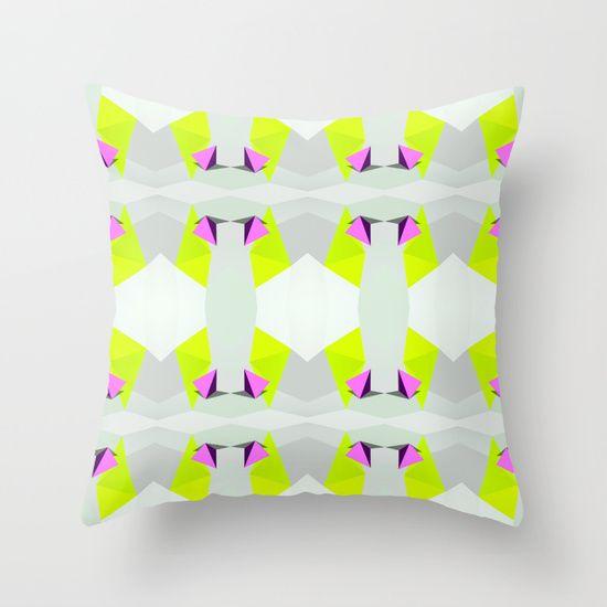 Polygon Neon Throw Pillow