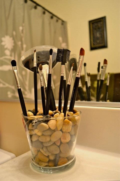 Make-up brush holder I made using a small vase and…