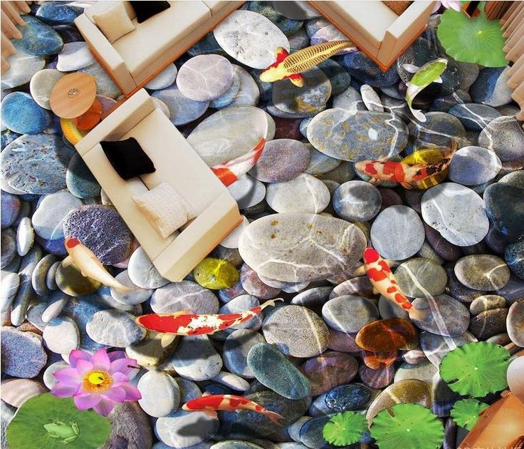 31.90$  Watch now - http://alidhz.shopchina.info/1/go.php?t=32798992625 - custom 3d floor Lotus pond carp pebbles 3d-room-wallpaper 3d flooring adhesive-paper-for-furniture floor-adhesives  #magazine