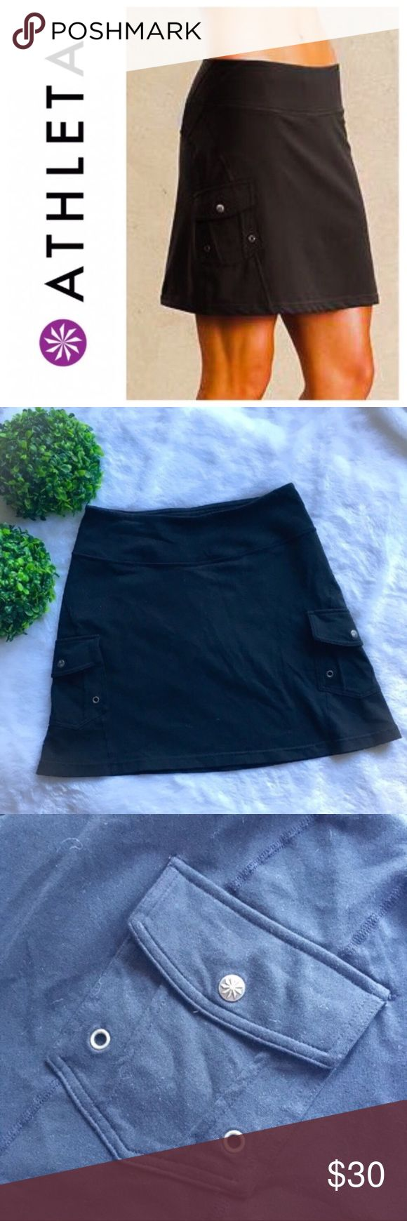 "Athleta Black Oasis Cargo Skort Athleta black Oasis cargo skort in excellent preloved condition. Size XS, 26"" waist, and 15"" long. Features 2 side buttoned cargo pockets, front inside hidden pocket on the waistband, airy mesh shorts underneath, and a hidden pocket on the inside shorts. The shell is 88% supplex nylon/12% lycra and the lining is 93% polyester/7% spandex. Machine wash cold and tumble dry on low heat. I'm only looking to sell at this time so sorry but no trades. My listing price…"