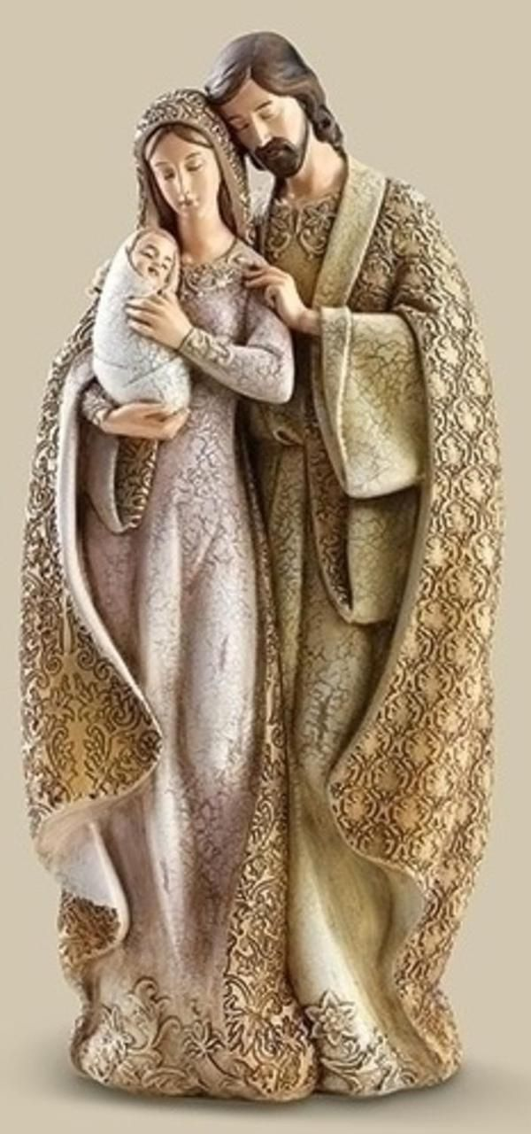 12.75 Faux Wood Holy Family Christmas Table Top Figure 31492131 | ChristmasCentral