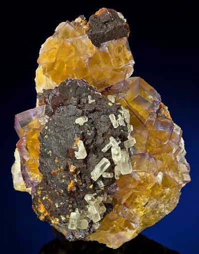 Fluorite with Sphalerite & Calcite
