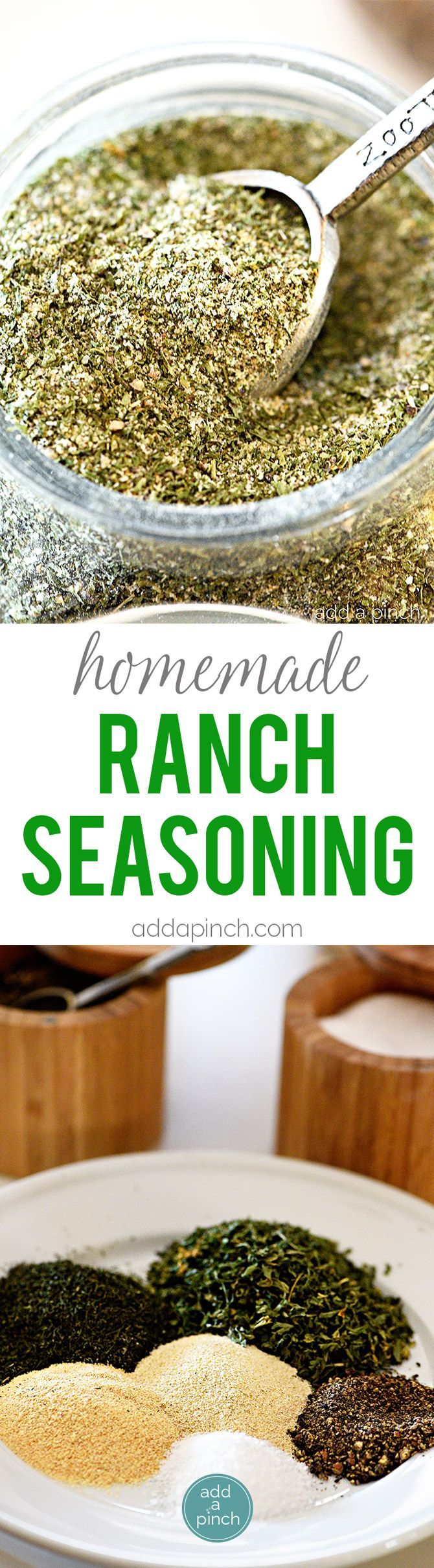 Homemade Ranch Seasoning Mix – Homemade ranch seasoning makes a great seasoning to keep on hand for ranch dressing, dips, chips, and more! // addapinch.com