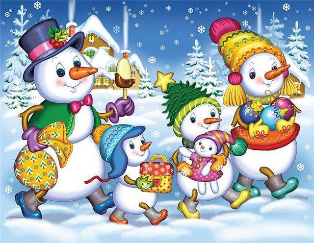 Картинки с новым годом с снеговиком