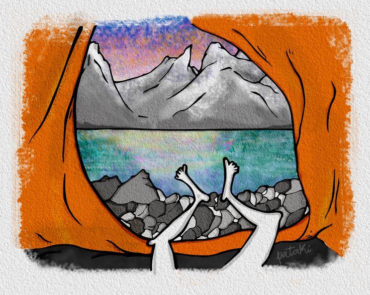 Ilustración digital carpa, montaña, acampar acampaaaaar, belén caracoles pataki