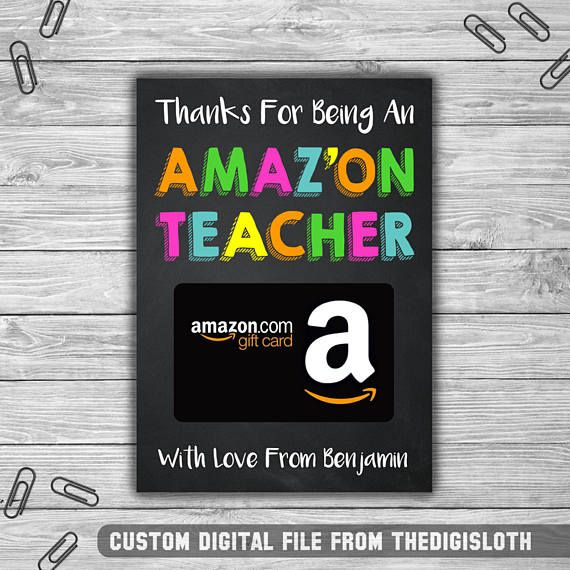 "Our instant download ""Thanks for being an AMAZON teacher"" gift card holders are perfect for teachers day!  Teacher appreciation, coach, daycare, thank you, gift card holder"