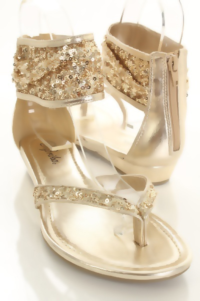 Gold Sequin Faux Leather Thong Ankle Wrap Zipper Sandals http://www.amiclubwear.com/shoes-sandals-fd-ziwa-sgoldseq.html#