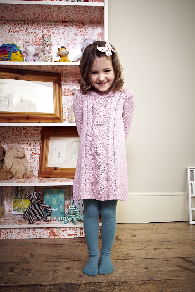 Pink Cable knitted dress