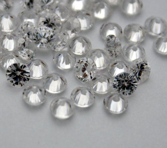 2 Cubic Zirconia Round Stones  Crystal Cubic by ThisPurplePoppy, $3.50