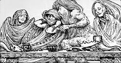 Trym var en jätte i nordisk mytologi. Trym gömde undan guden Tors hammare Mjölner och krävde gudinnan Freja i lösen.  Tor anlände till bröllopet förklädd till gudinnan och stal tillbaka sitt välkända attribut.  Foto: Thor utklädd till Freja, med Thorssymboler på tyget.