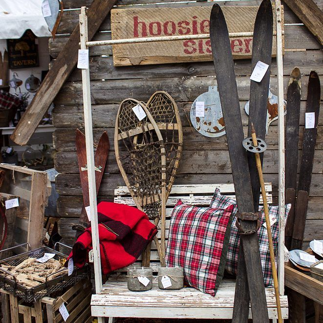 I love this display from the Hoosier Sisters at the Country Living fair. #countrylivingfair #clfair #winterdecor #plaid #adelightsomelife