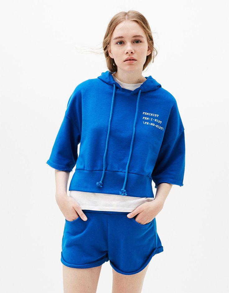 Sweatshirt com capuz manga curta - Sweatshirts - Bershka Portugal