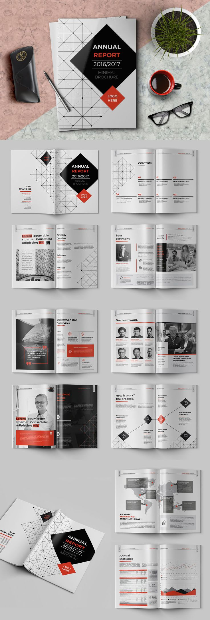 Elegant Annual Report Brochure Template InDesign INDD - 20 Pages, A4 + US letter