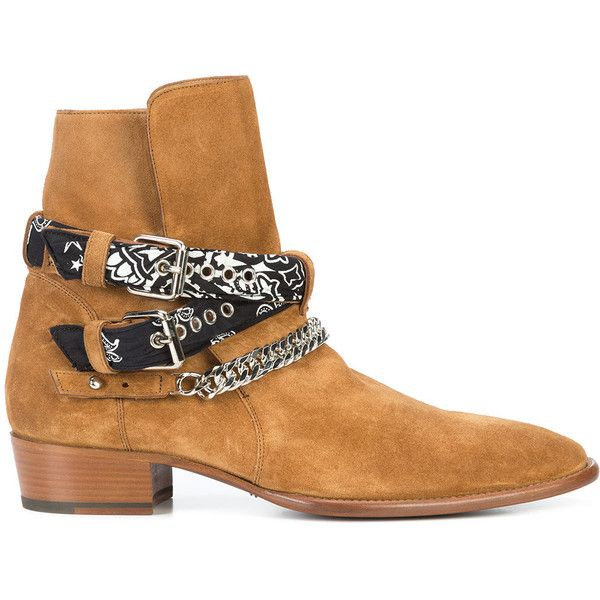 Amiri bandana and chain buckled ankle boots ($2,225) ❤ liked on Polyvore featuring men's fashion, men's shoes, men's boots, mens buckle shoes, low heel mens dress shoes, mens slipon shoes, mens slip on boots and men's pull on boots