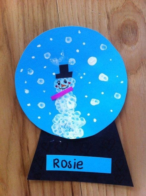 Snowglobe...made these with preschoolers for Winter Festival invitations...used q-tips in white paint...printed details on a snowman and glued on top of the snowflakes...