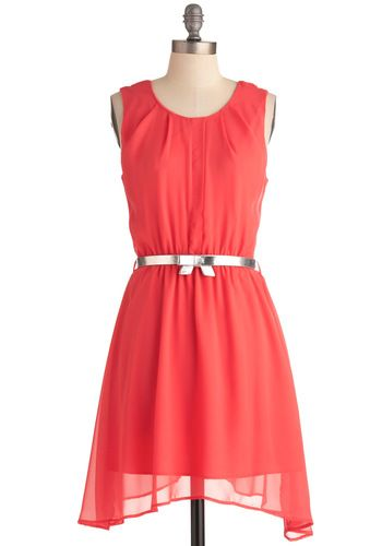 @Dana Lucas and @Carrie Himmelhaver -- With a different belt (maybe a sash) do you all like this dress? It's the perfect coral color I've been looking for.