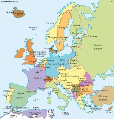 Diercke Karte Europe before World War One (1914) Map of Europe at the start of The Great War.