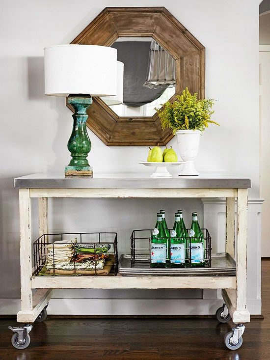 Genius! Use a cart as an entry table. Love the wheels & all of the unexpected elements.