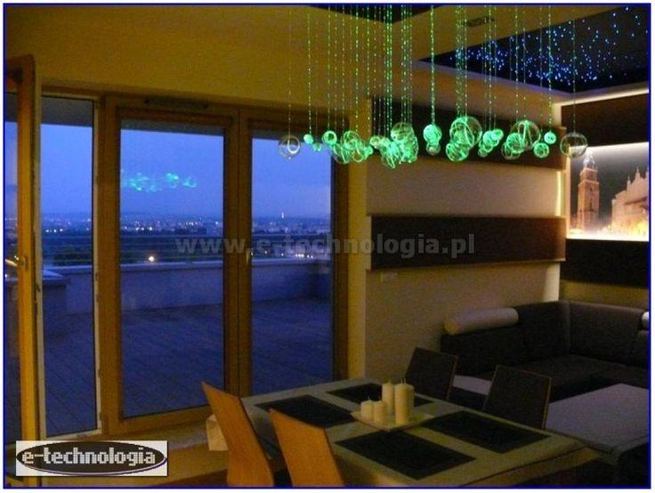 Żyrandol Światłowodowy Orbita dekorowanie salonu