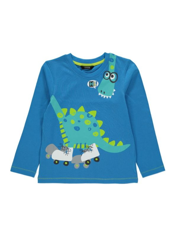 Racing Speedway Long Sleeve Top Boys Skating And Dinosaurs