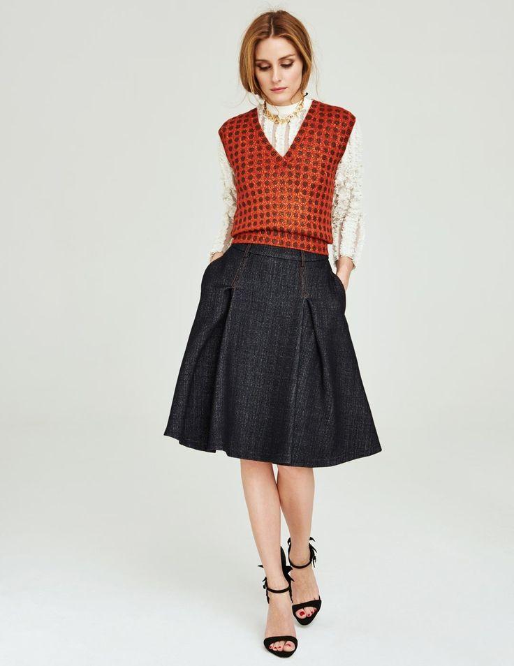 Olivia Palermo for Vogue MINI CHINA May 28, 2015 - Louis Vuitton top and necklace; Bottega Veneta vest; #TommyHilfiger denim skirt; Giuseppe Zanotti sandals