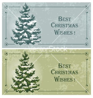 Vintage christmas cards with spruce in the snow vector  - by Pazhyna on VectorStock®