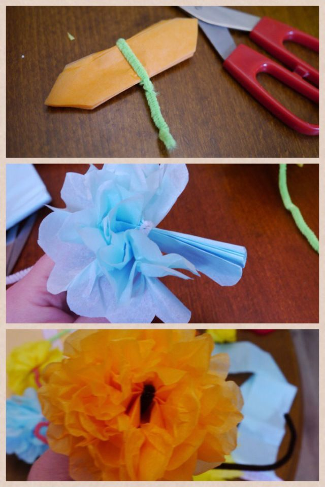 How to make tissue paper flowers for an Easter bonnet. Kids craft. Papercrafts.