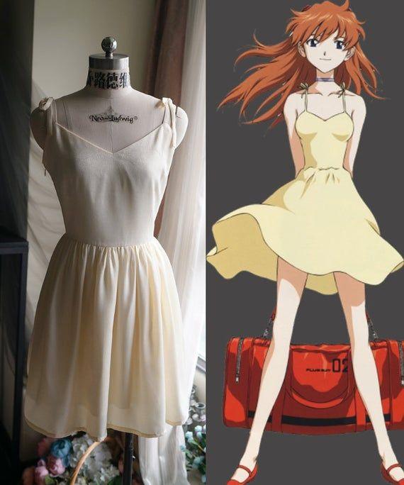 Asuka Langley Yellow Dress Cosplay Costume Asuka Langley Neon Genesis Evangelion