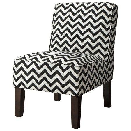 Best Burke Accent Print Slipper Chair Black White Zigzag 400 x 300