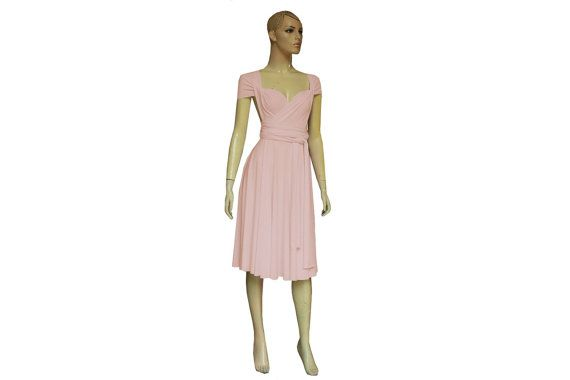 Twist Wrap Blush Pink Dress Knee Length Bridesmaid Gown Short Infinity Prom Wedding Dress