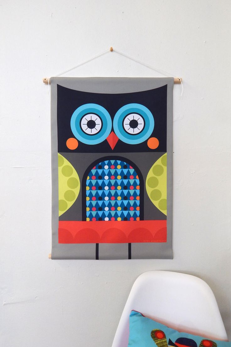 Graphic owl, fabric, wall hanging, Ellen Giggenbach by EllenGiggenbach on Etsy