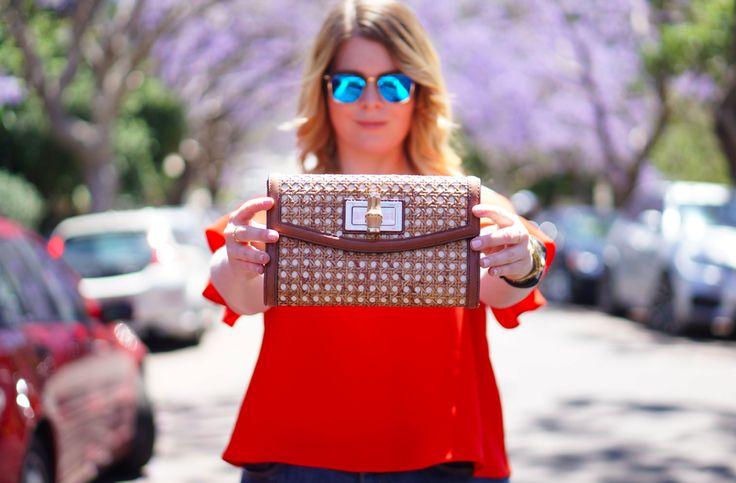 Blush & Bordeaux - Orange Cold Shoulders. Topshop top, Zoe Karssen jeans, Lucky Brand platforms, Kate Spade clutch, Ray Ban sunglasses