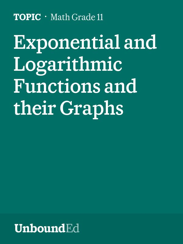 (M3 Topic C) Students graph logarithmic functions, identifying key features.