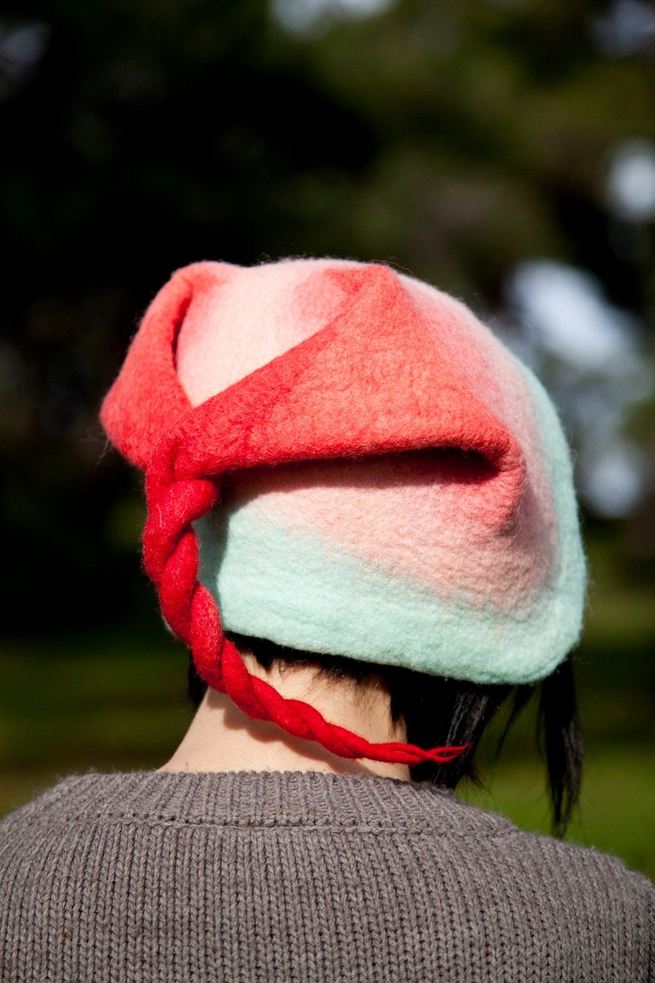 Unique handmade felt hats - Tailed hat , red, pink, light blue (Ready to ship). $60.00, via Etsy.