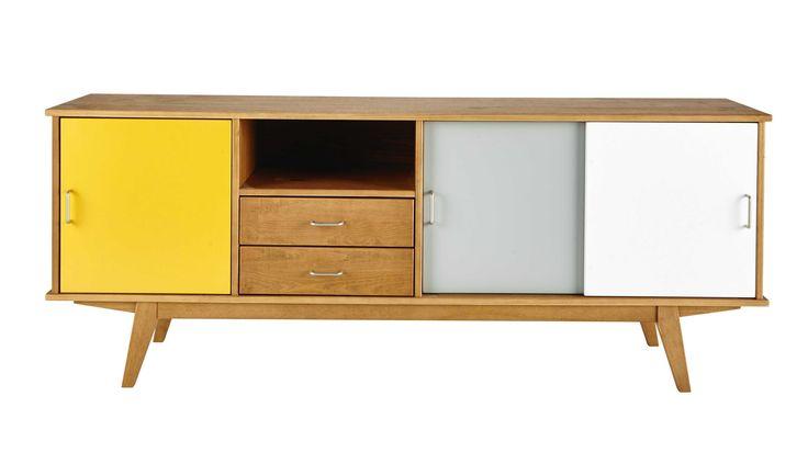 Credenza bassa vintage gialla/grigia/bianca in legno L 180 cm Paulette