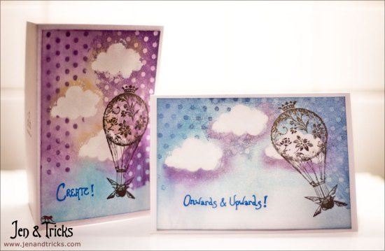 Handmade cards with clouds and air balloons by jenandtricks. Visit my blog at http://jenandtricks.com.