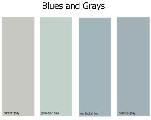 Big Kid's room is already painted a shade similar to Nimbus Gray.  Thinking of Nantucket Fog for the Little Kid's (adjacent) room.  Palladian Blue is one room over, but separated by a chocolate brown hallway.
