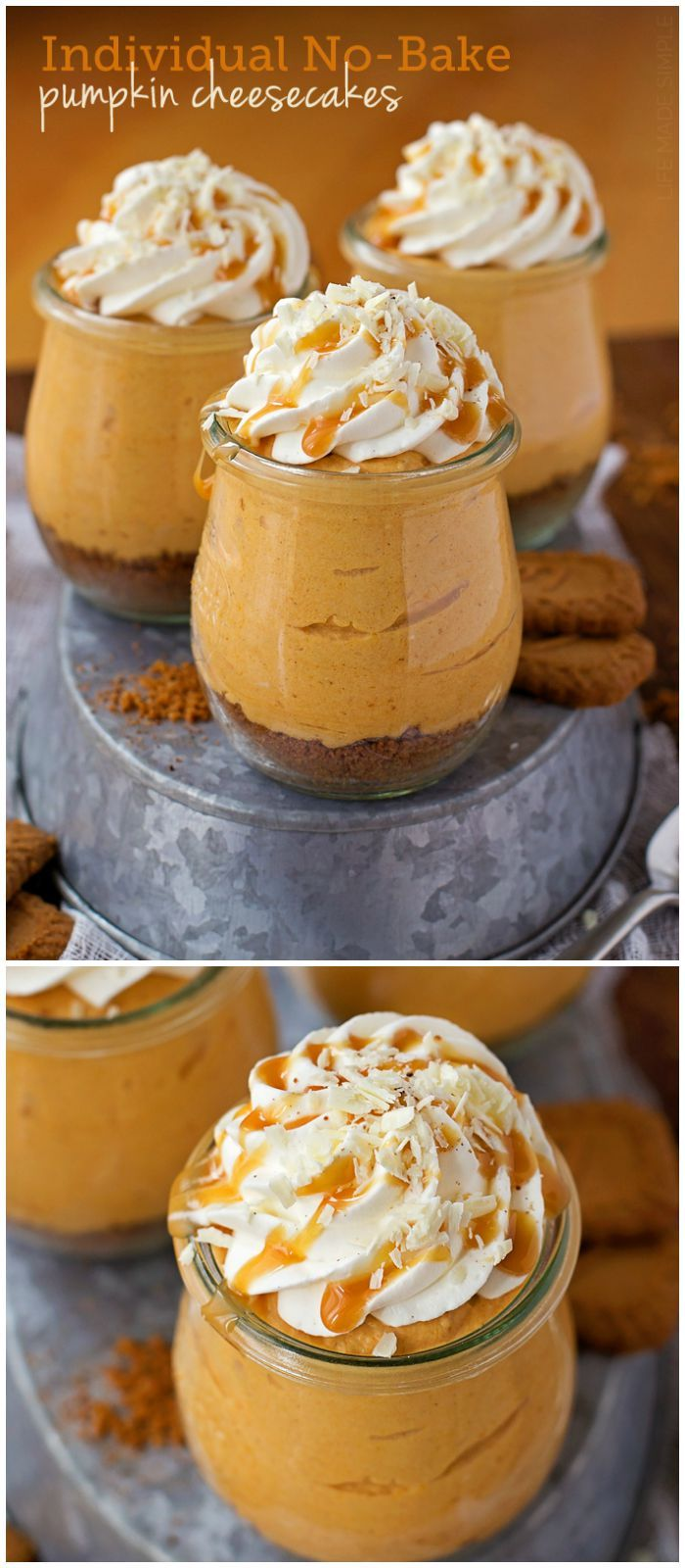 Individual No-Bake Pumpkin Cheesecakes perfect for the holidays!! It will be a…