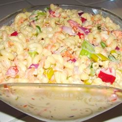 Best Macaroni Salad - omit the 1/2 cup of sugar if you don't want it as sweet, but don't be afraid of the condensed milk.  Add frozen peas and some shredded cheddar cheese and get ready to taste some of the best macaroni salad you have ever had!  Need it to be gluten free....make it with rice noodles.