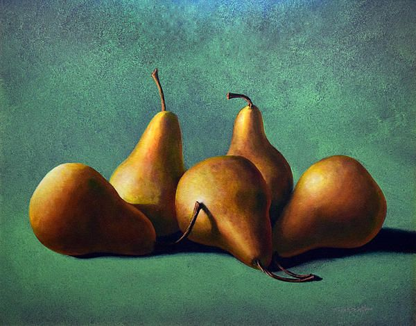 """""""FIVE RIPE PEARS"""" by Frank Wilson  16 x 20 inch oil painting on a hardboard panel.  Prints available in many sizes and media.  This pleasing arrangement of five golden pears on a seamless background of a complimentary color is a painting that would look great in a kitchen or dining area of your home or even in a restaurant. This painting owes it's luminosity to the dozens of thin transparent layers of oil colors that were slowly built up over many weeks."""