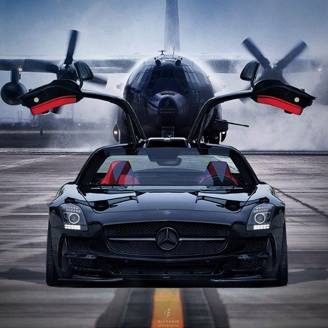 Mercedes-Benz SLS 63 AMG and Lockheed C-130 Hercules.