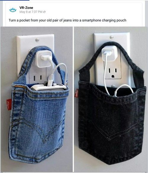 Jeans pocket charging pouch.