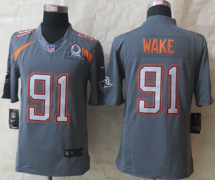 b6643253a ... 2015 New Nike Miami Dolphins 91 Wake Pro Bowl Grey Game Jerseys.