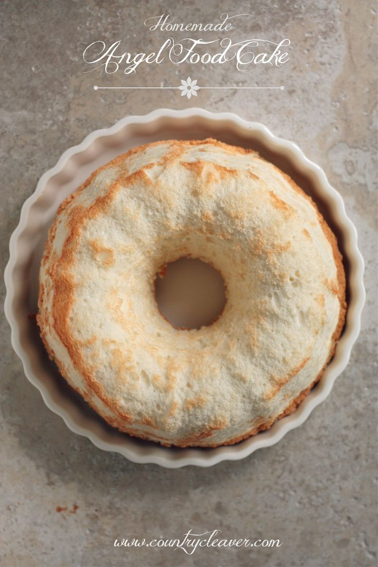 Homemade Angel Food Cake - www.countrycleaver.com It's light and fluffy, and doesn't have the chemical taste that store bought Angel Food has! It's got six ingredients and you can pronounce them all!