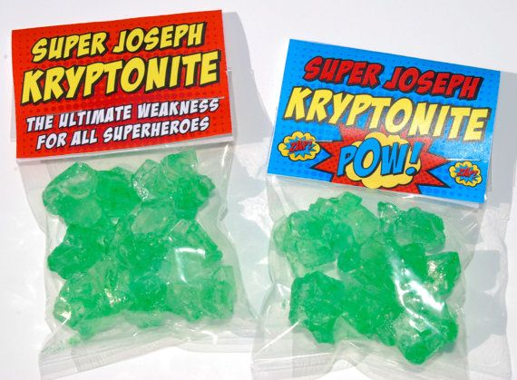 Superhero Kryptonite Candy Labels            ☮ please follow me or one of my boards . my goal is 10,000 followers. so far 108 ☮