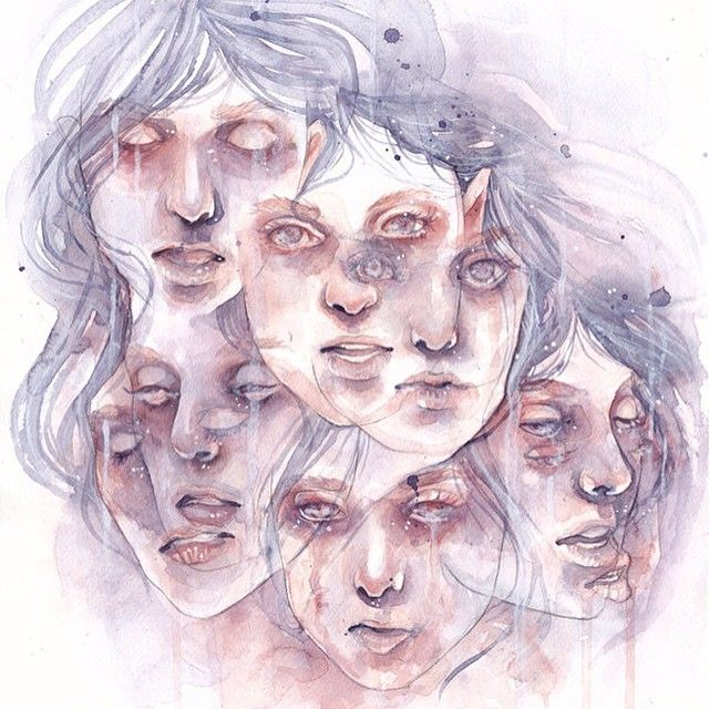Dissociative identity disorder by siljavich.deviantart.com #DeviantArt #Watercolor #Art