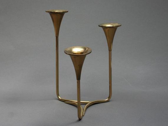 Vintage 1960s Scandinavian Brass Candelabra Large Mid Century Modern Candle Holder Mod In 2020 Mid Century Modern Candle Holders Modern Candles Modern Candle Holders